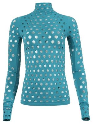 Perforated Turtleneck Top, Aqua