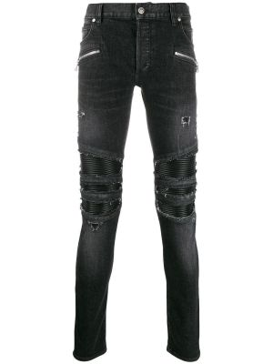 Distressed Skinny Zipped Jeans