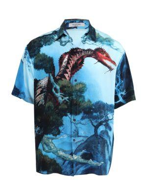 Blue Dragon Print Silk Shirt