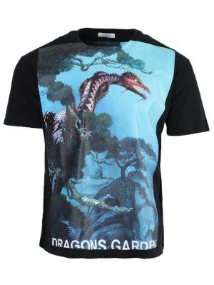 Dragon Garden Graphic Print T-shirt Blue