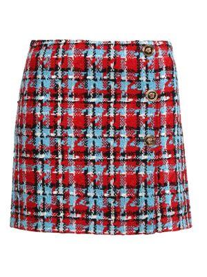 Check Print Tweed Mini Skirt