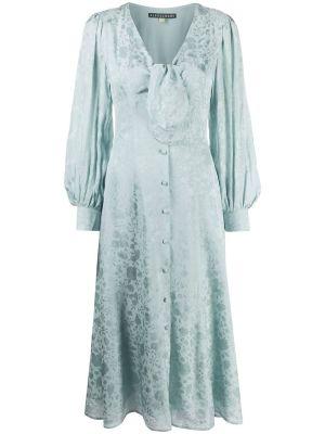 Floral Icy Blue V-neck Dress