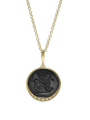 Griffin Black Glass Coin Necklace