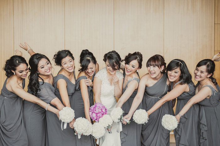 Grey bridesmaids' dresses. Photography by Creative Clicks. www.theweddingnotebook.com