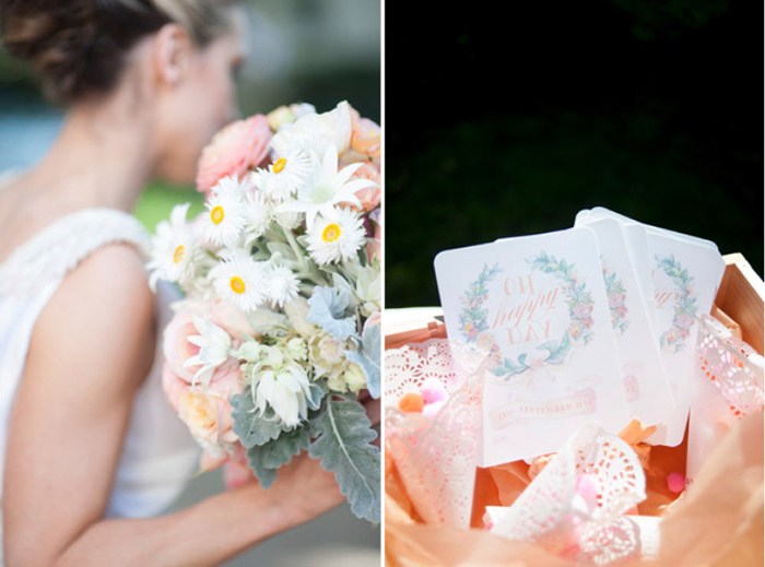 Bridal bouquet and confetti. Tealily Photography. www.theweddingnotebook.com
