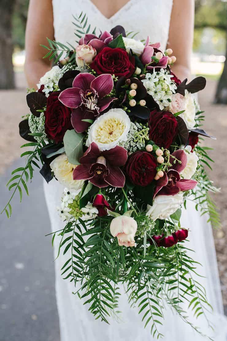 Jaimi  Alexs Modern Black Tie Wedding with Burgundy Bouquets