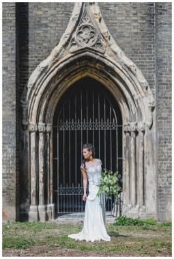 Bride outside Abney Park Cemetery wearing Catherine Deane bridal