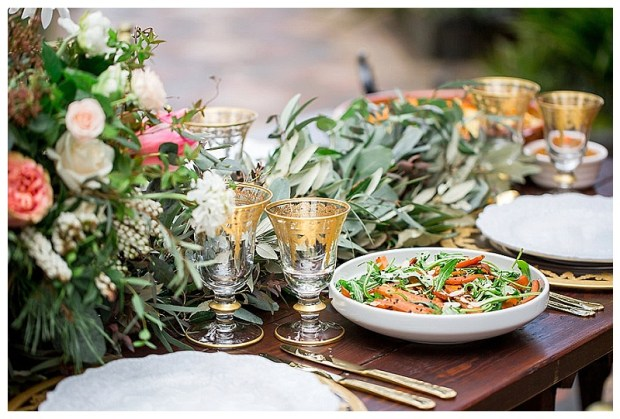 Roasted vegetable and feta salad sits on a styled wedding table for a modern Moroccan styled shoot