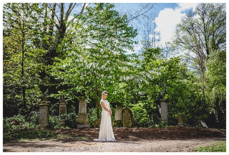 Bride at Abney Park Cemetery for Norse inspired bridal shoot