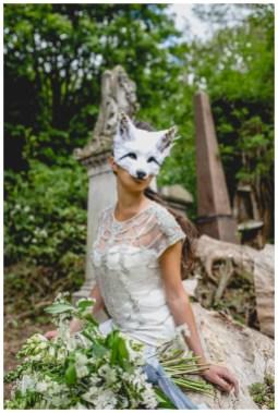 Bride in white fox mask