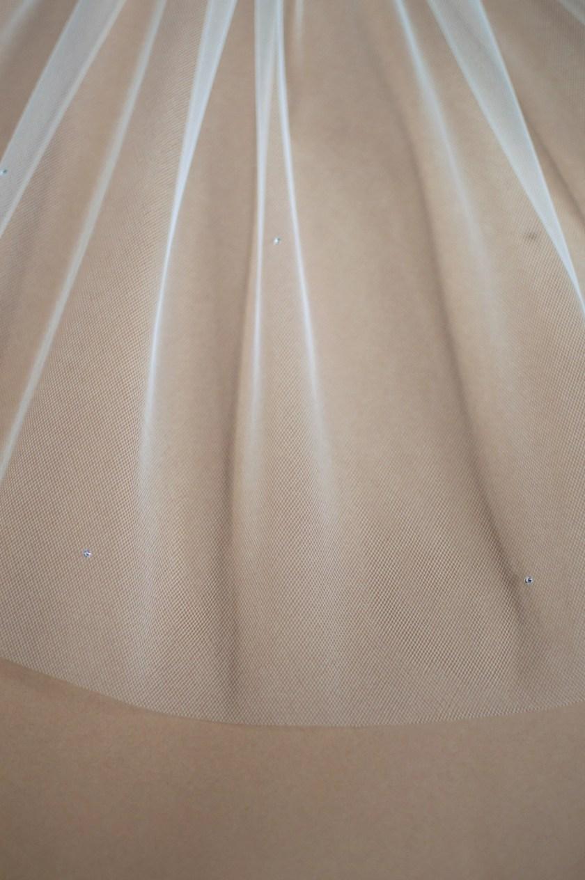 Pixie diamante beaded veil closeup