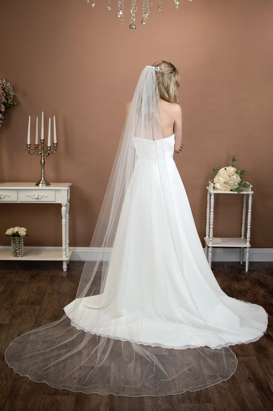 Alexandra - one layer long chapel veil with rhinestone edge and diamantes falling stars on bride