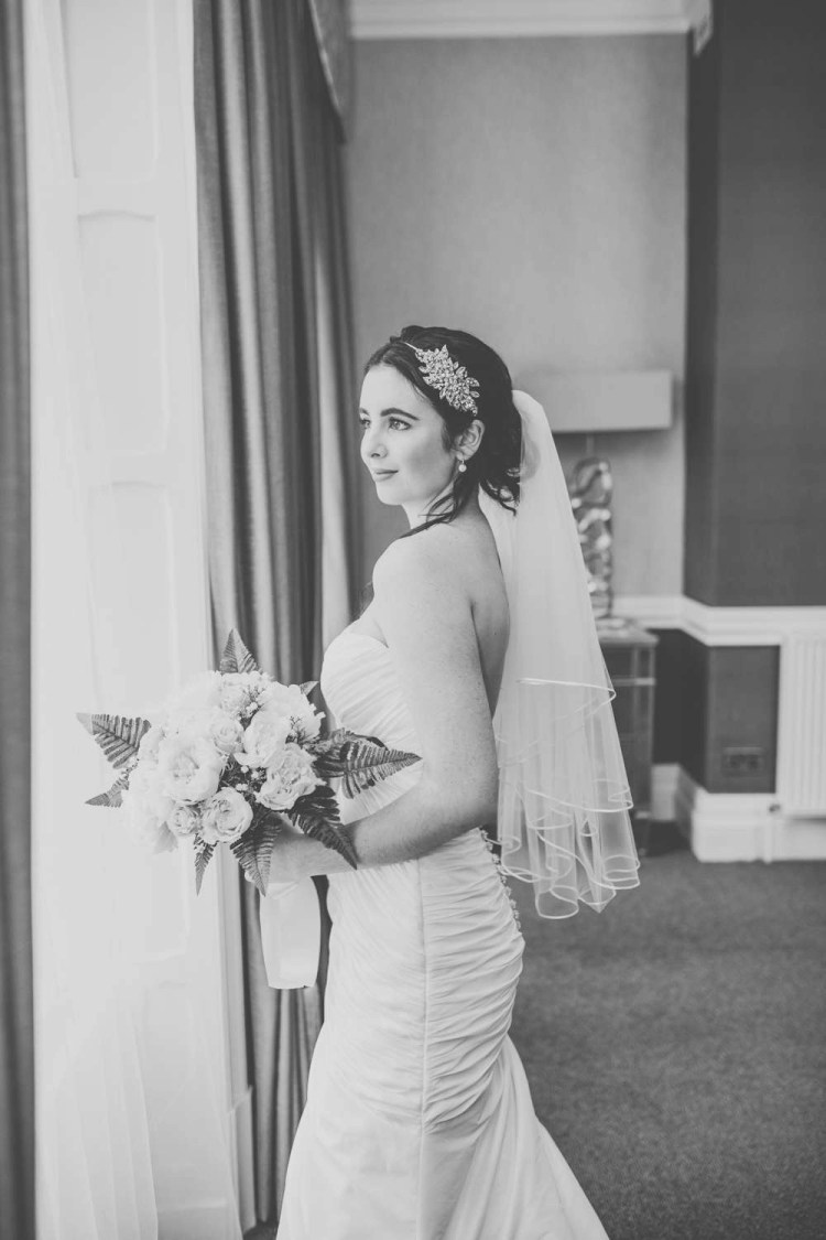 Amber - two tier waist length veil with a ribbon edge black & white