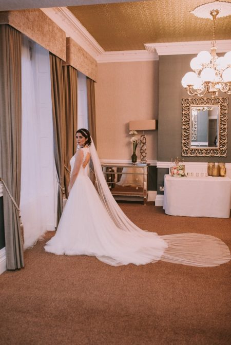 Aria – single tier cathedral length veil with a pencil edge in Silk Effect tulle