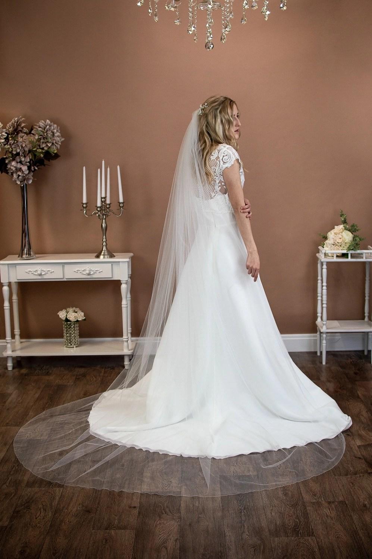 Brooke - single layer long chapel length extra wide plain veil on bride