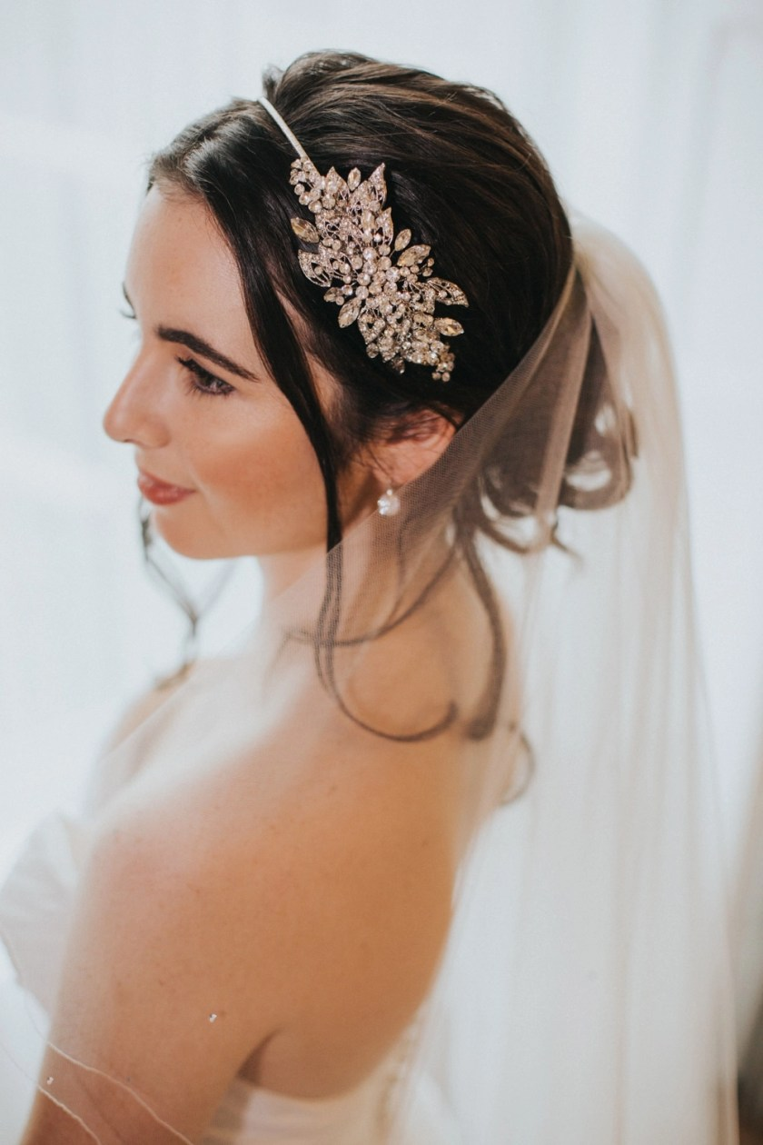 Carrie – two layer hip length veil with scattered diamantes closeup