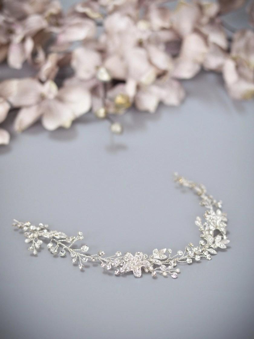 Dawn TLH3067 silver diamante and pearl bridal hair vine 30cm long
