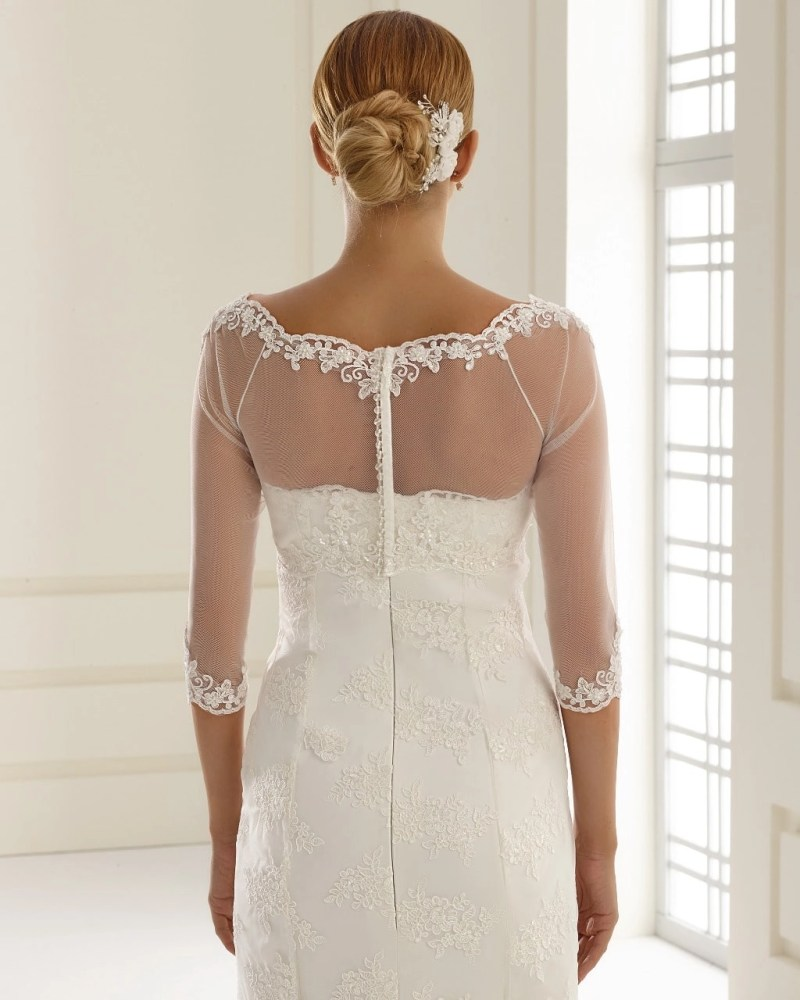 E150 BB150 lace and tulle bridal jacket button up back (2)