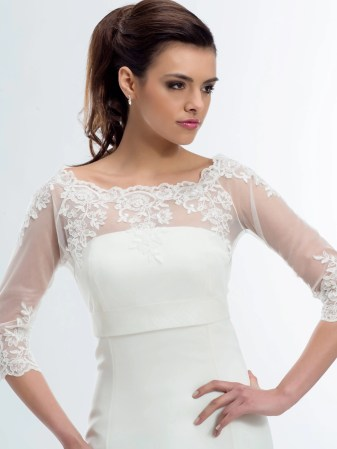 E176 BB1176 boat neck lace bridal jacket button up back with sleeves