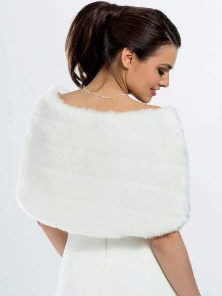 BB22 faux fur bridal bolero