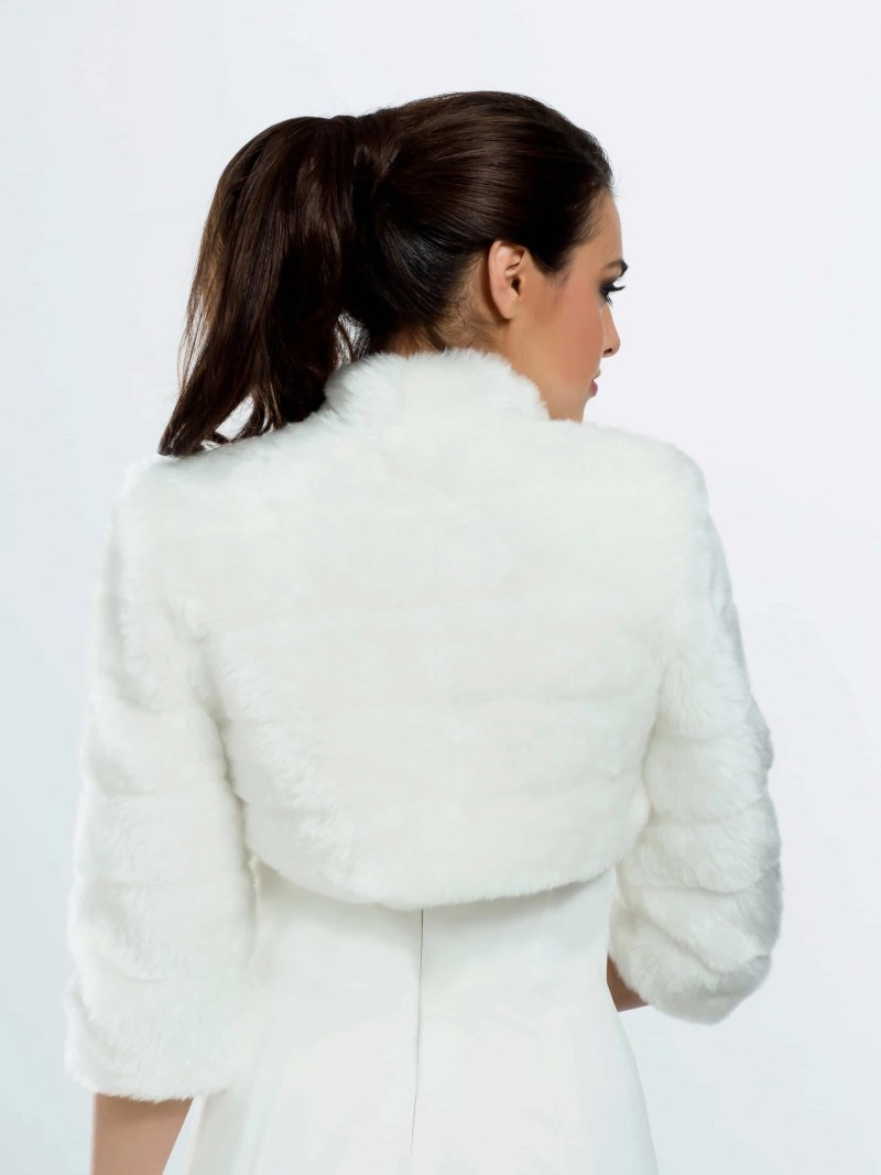 BB42 faux fur bridal jacket back view
