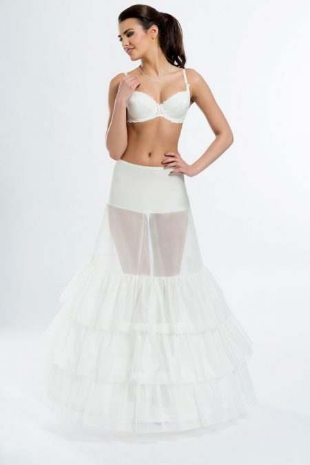 SALE! BP5-270 – Elasticated 270cm (106 inch) soft A-line bridal underskirt with three hoops – White Size 12