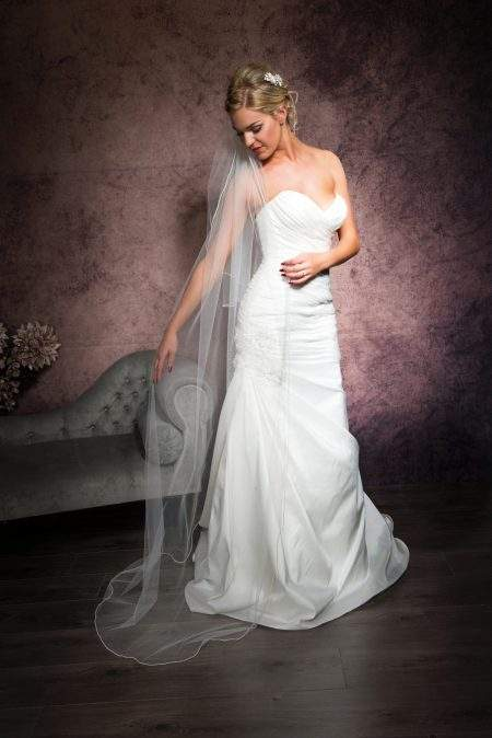 SALE! Jolene – two layer floor length veil with a pearl edge trim – light ivory