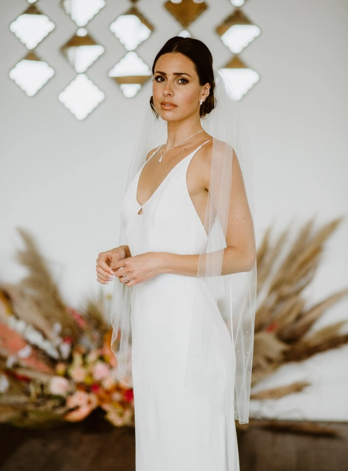 Kendra - one layer fingertip length veil with pearls & diamantes