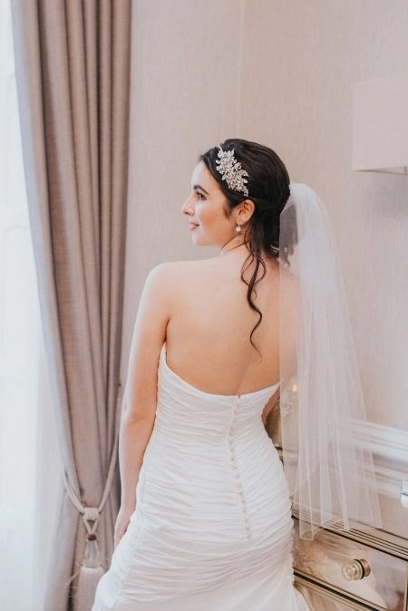 Louisa – one tier waist length veil with pencil edge