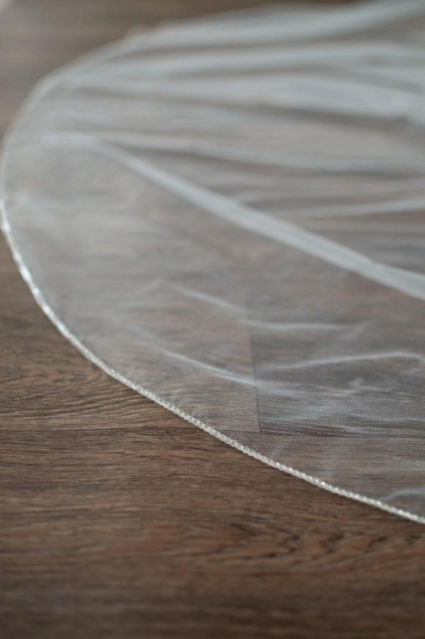 Natalia diamante beaded edge veil closeup