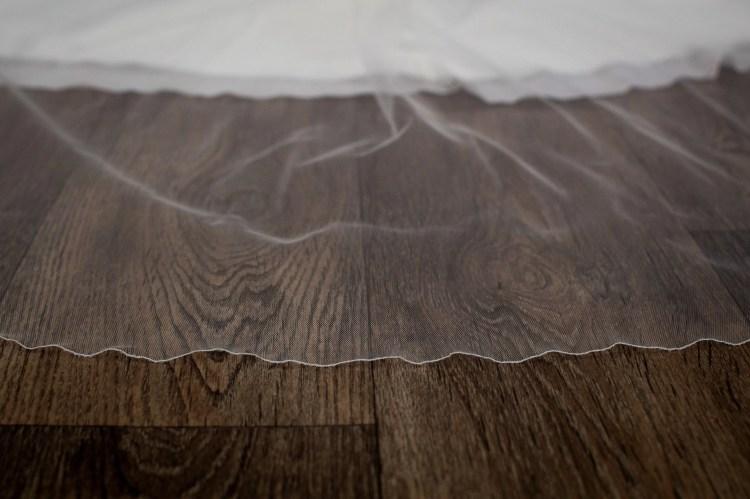 Paige - two layer chapel length plain wedding veil detail