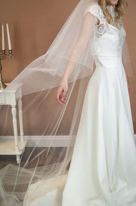 Paige - two layer chapel length plain wedding veil side view closeup