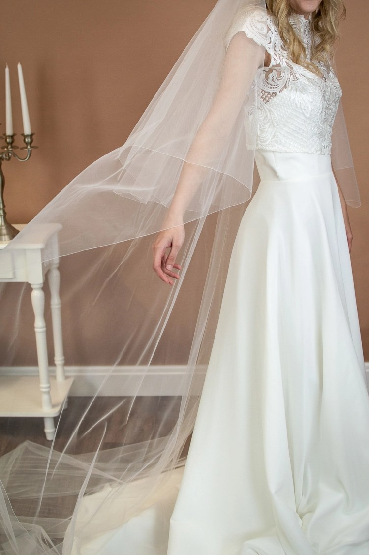 Paige - two layer chapel length plain wedding veil side view closeup