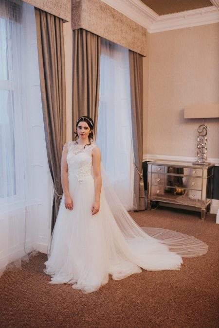Pippa – two tier chapel length drop veil with pearls in Silk Effect tulle