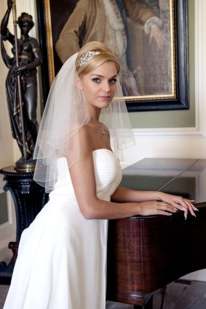 Rain triple diamante beaded veil in elbow length