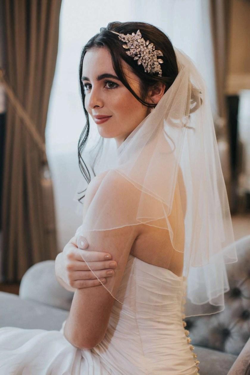 Savannah – Two tier elbow length pencil edge wedding veil