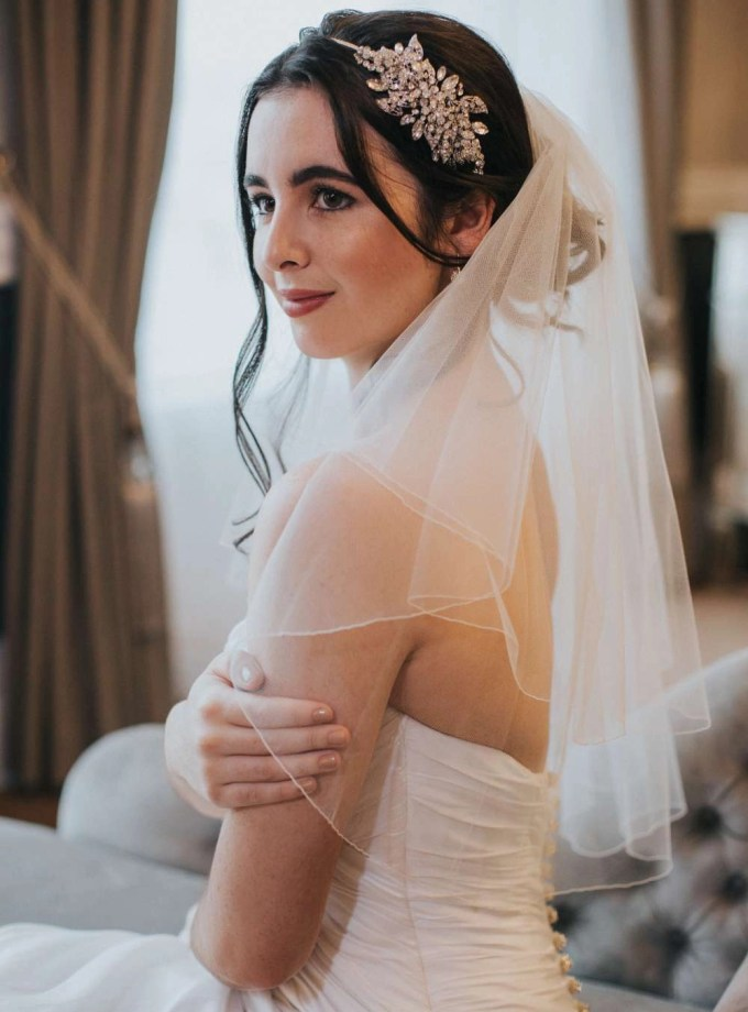 Savannah – Two tier elbow length pencil edge wedding veil
