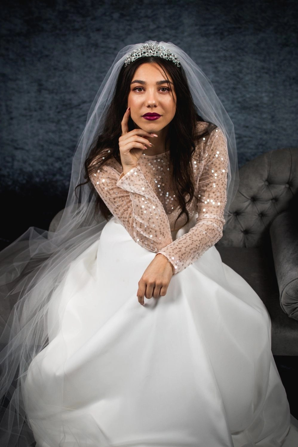 Skye – one layer plain chapel length veil with a cut edge