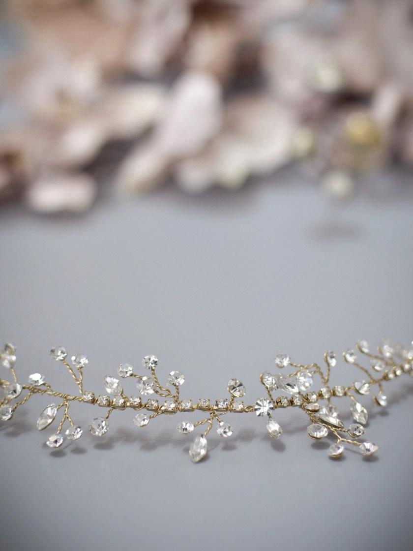 Sunrise TLH3079 gold diamante bridal hair vine 40cm long closeup