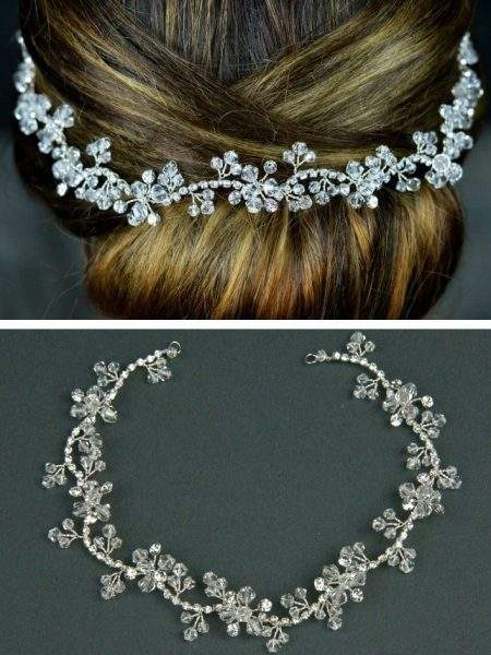 TLH3064 – diamante & crystal bridal hair vine