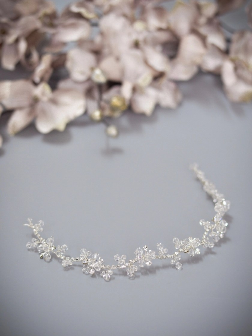 Twilight TLH3064 silver diamante and crystal bridal hair vine 30cm long