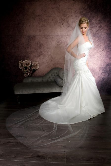 Victoria – two layer cathedral length veil with Ab crystals