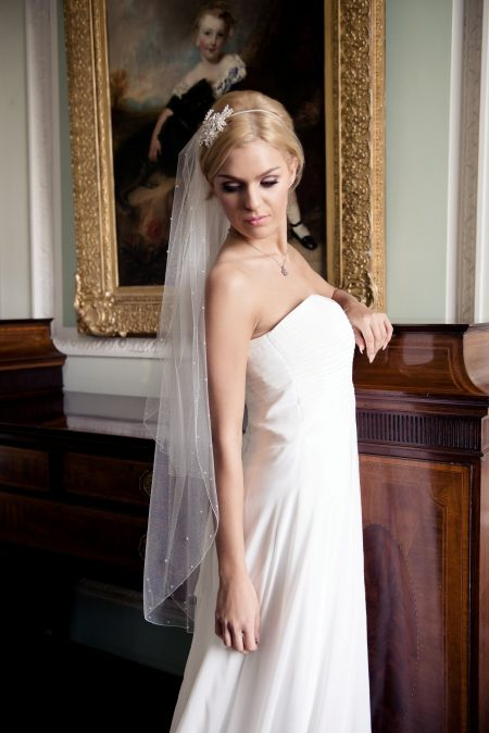 Yasmin – two layer fingertip length veil with crystals & pearls
