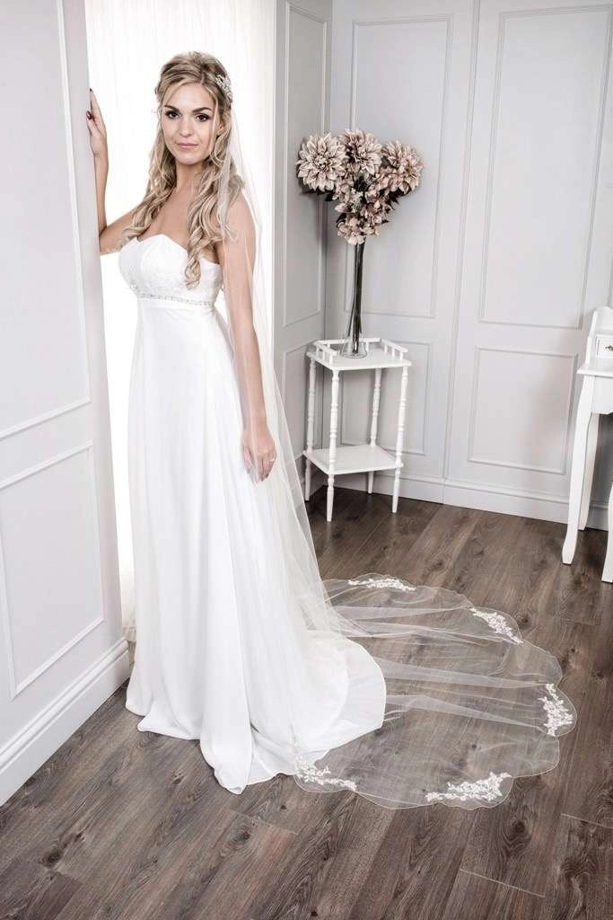 Pretty bride at window wearing long chapel length veil with lace appliques