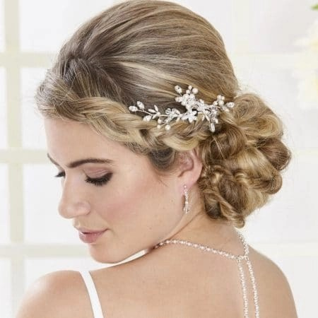SALE! AR554 – hand wired diamante & pearl bridal hair comb