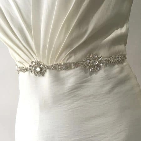 LBE367 – silver diamante flowers bridal belt on organza ribbon