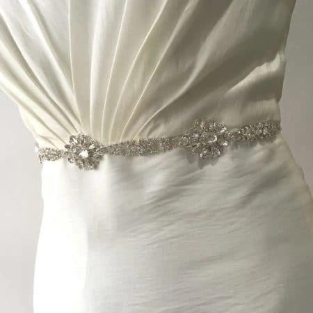 LBE367 – silver diamante flowers bridal belt on organza ribbon