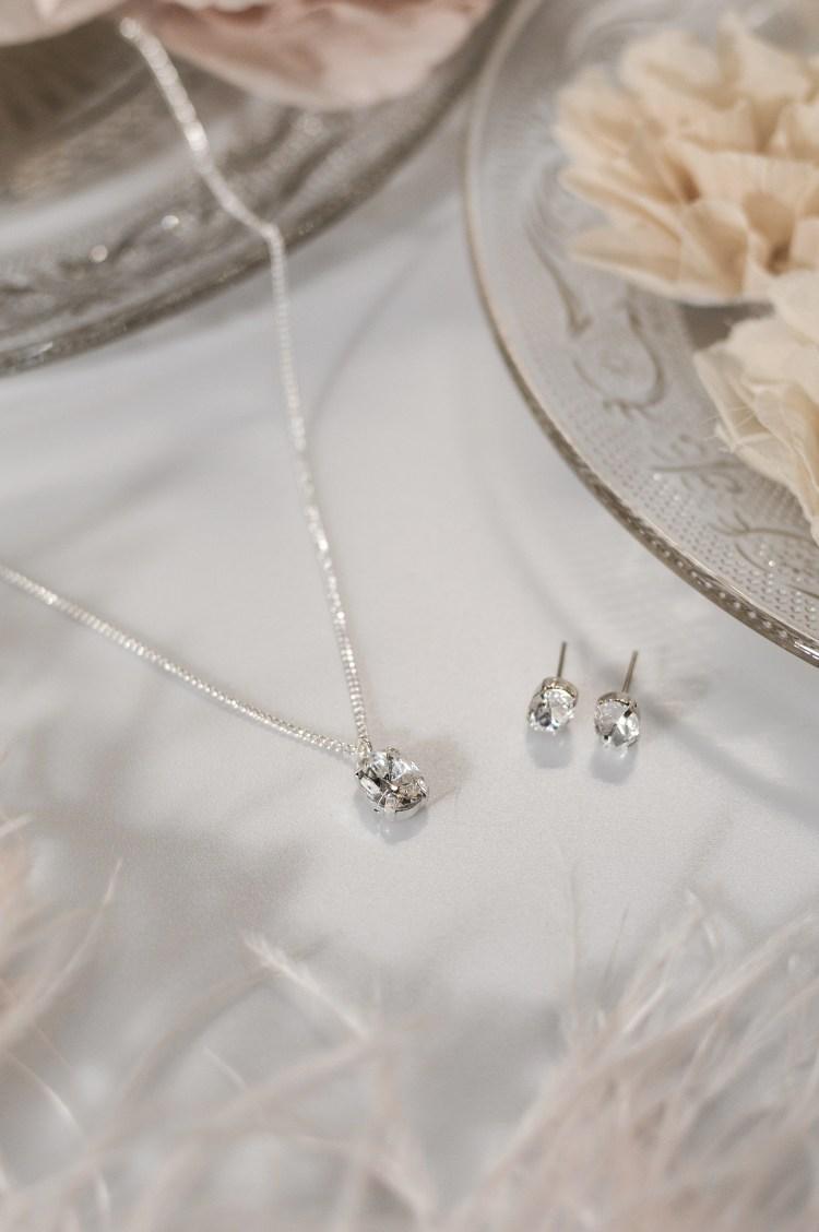 TLS1526 bridal wedding jewellery set with oval crystal and stud earrings