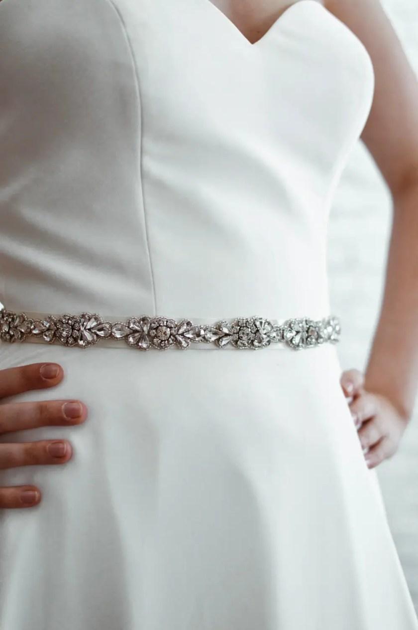 PBB1001 – narrow diamante bridal belt on model 2