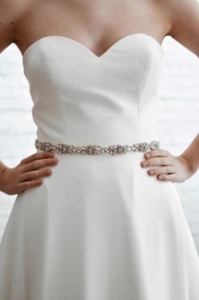 PBB1001 – slim diamante bridal belt on model 4